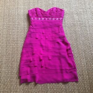 badgley mischka pink cocktail dress size 4 beading